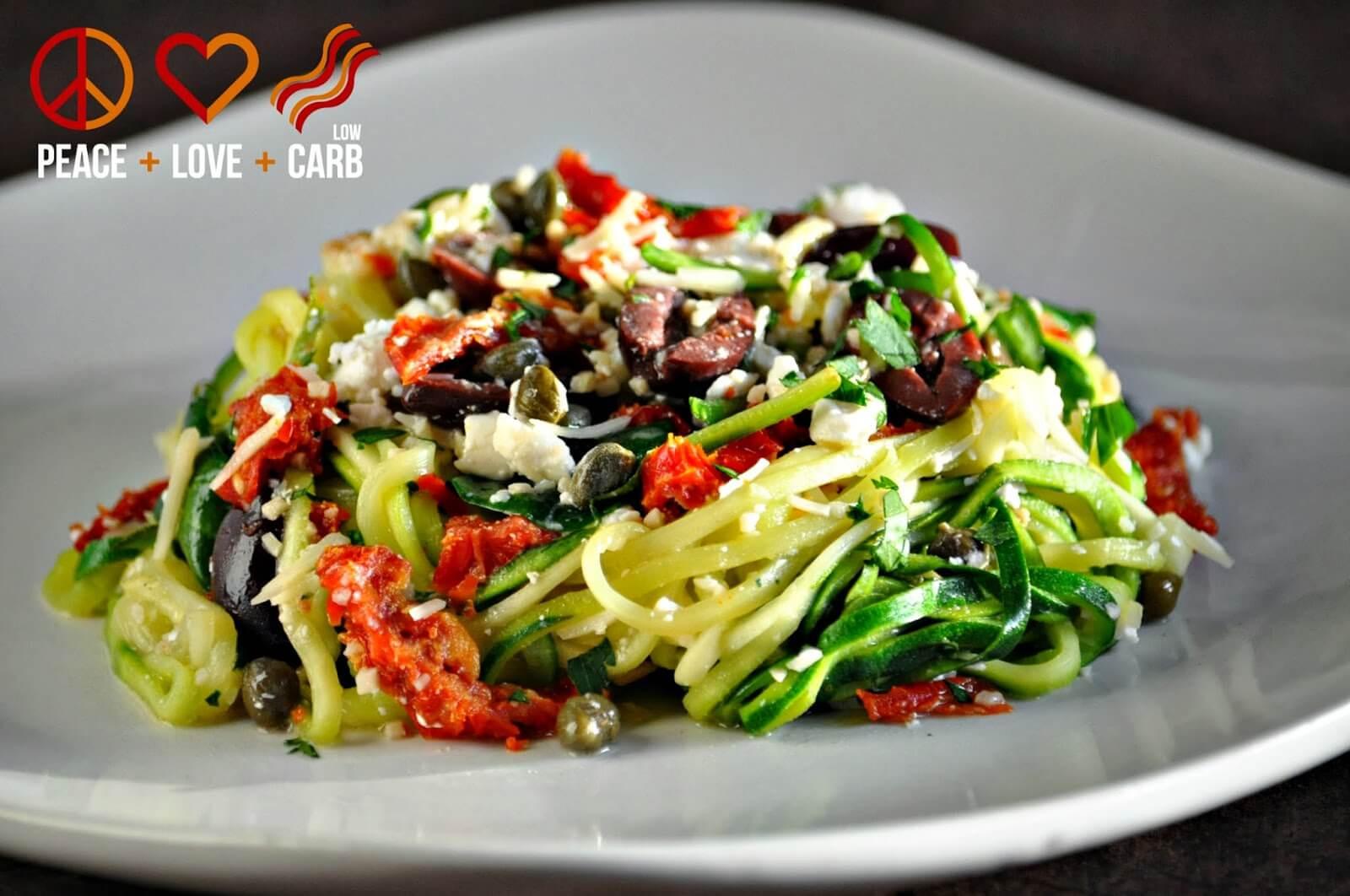 Keto Mediterranean Diet  Mediterranean Zucchini Noodle Pasta Low Carb Gluten