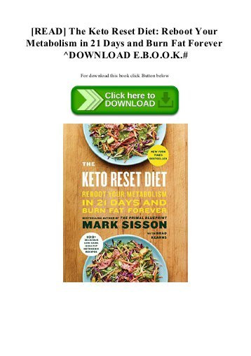 Keto Reset Diet Book  [PDF] Download The Keto Reset Diet Reboot Your Metabolism