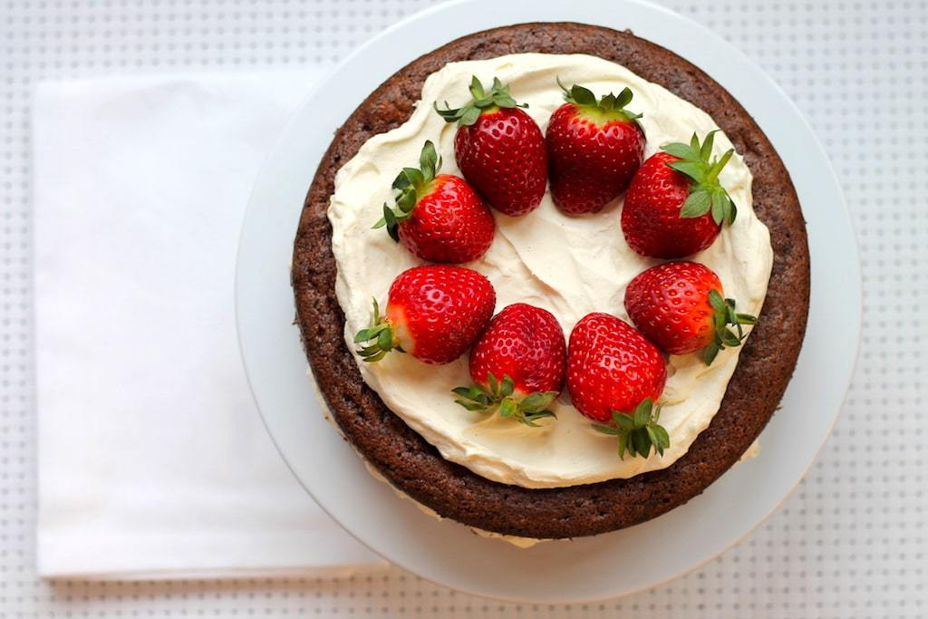 Keto Strawberry Cake  Keto Chocolate Sponge Cake with Strawberries and Cream