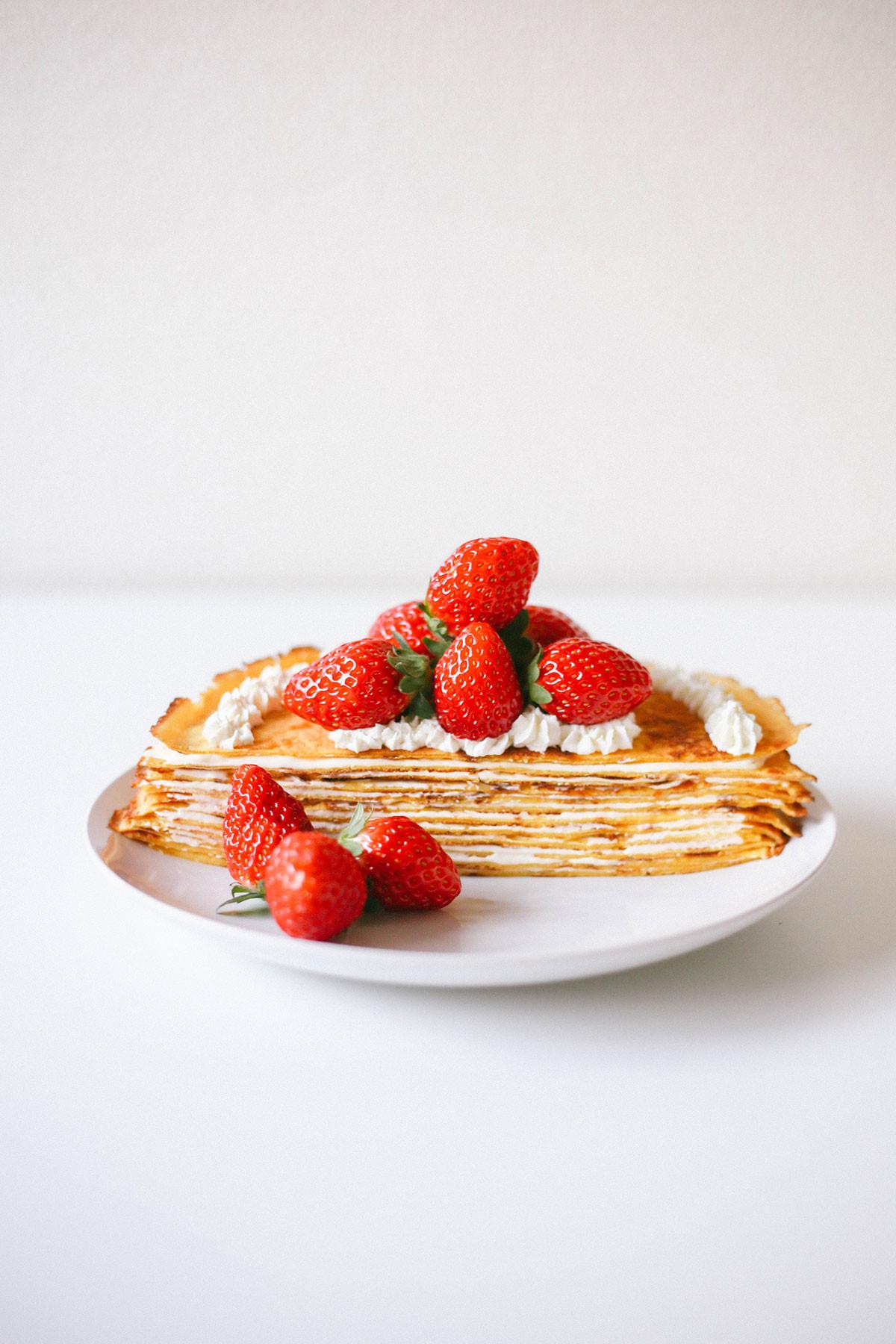 Keto Strawberry Cake  Keto Crepe Cake with Strawberries Mille Crêpe Happy Keto