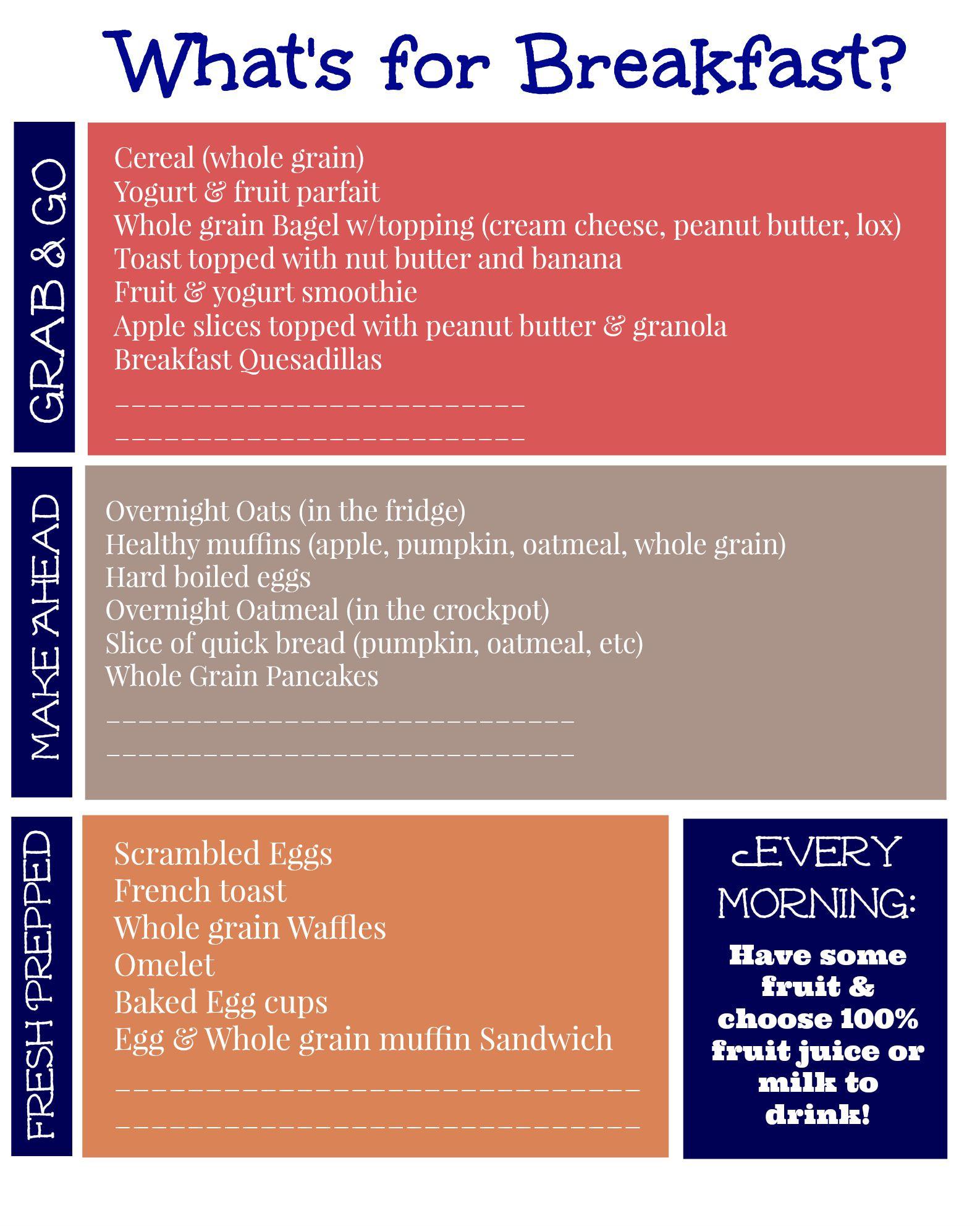 List Of Healthy Breakfast  FREE Printable List of Healthy Breakfast Ideas