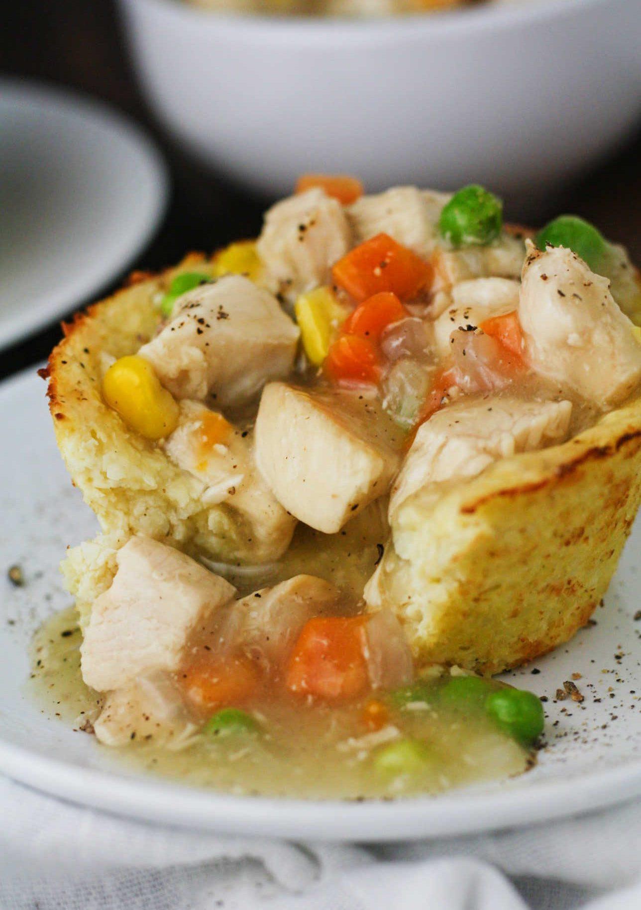 Low Calorie Chicken Pot Pie  Low Carb Cauliflower Pot Pies It s Cheat Day Everyday