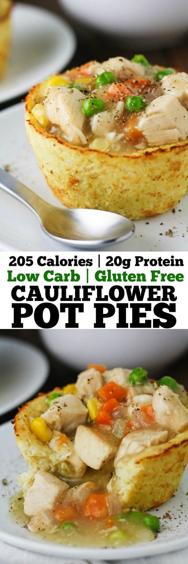 Low Calorie Chicken Pot Pie  These Low Carb Cauliflower Pot Pies have all the flavors