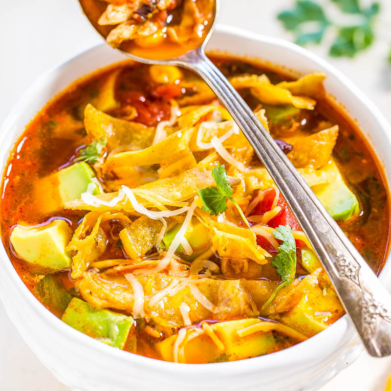 Low Calorie Chicken Tortilla Soup  Easy 30 Minute Homemade Chicken Tortilla Soup Averie Cooks