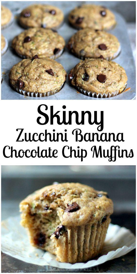 Low Calorie Chocolate Chip Muffins  Skinny Zucchini Banana Chocolate Chip Muffins healthy