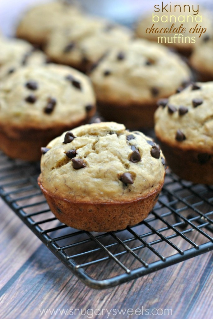 Low Calorie Chocolate Chip Muffins  Skinny Banana Chocolate Chip Muffins Shugary Sweets
