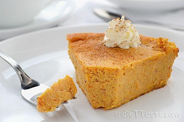 Low Calorie Crustless Pumpkin Pie  Crustless Pumpkin Pie healthy low calorie low carb