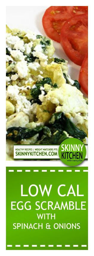 Low Calorie Egg Recipes  Low Calorie Egg White Scramble With Spinach and ions