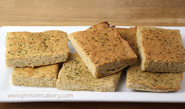 Low Calorie Garlic Bread  Garlic Protein Bread Andréa s Protein Cakery