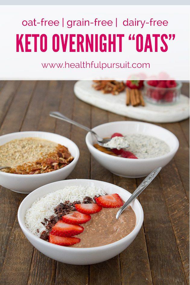"Low Calorie Overnight Oats  Keto Overnight ""Oats"" 3 Flavors oat free paleo sugar"