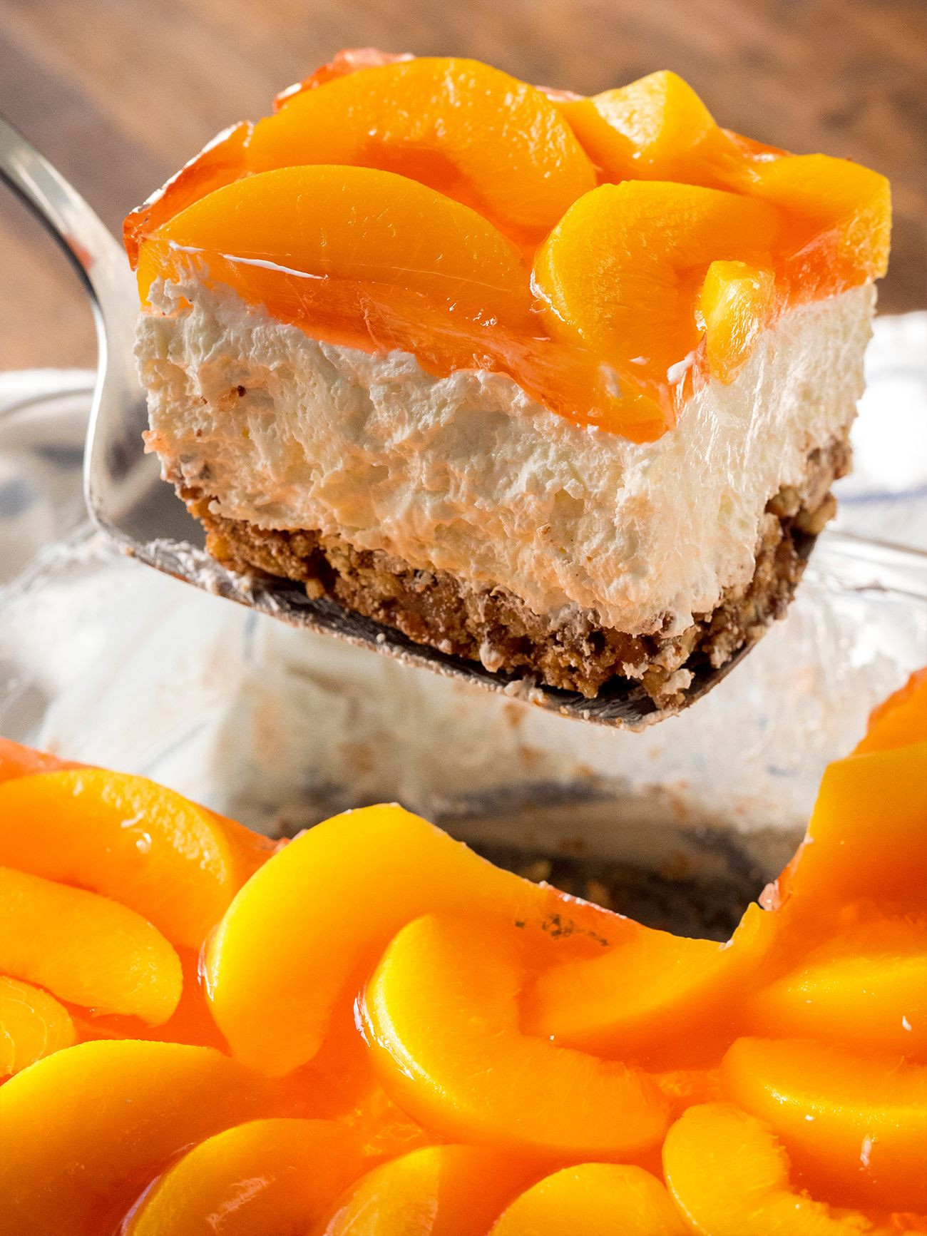 Low Calorie Peach Recipes  Peach Pretzel Jello Salad use low carb ingre nts