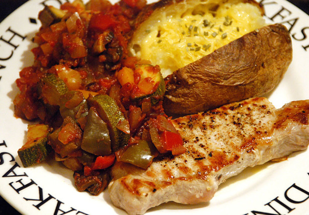 Low Calorie Pork Recipes  Low Fat Pork With Ratatouille Sauce Recipe Food