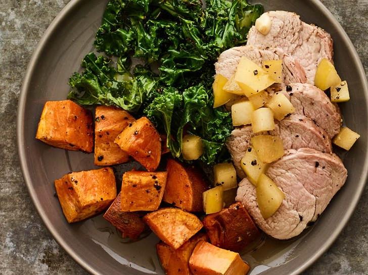 Low Calorie Pork Tenderloin Recipes  Roasted Pork Loin With Apple Jus and Sweet Potato Recipe