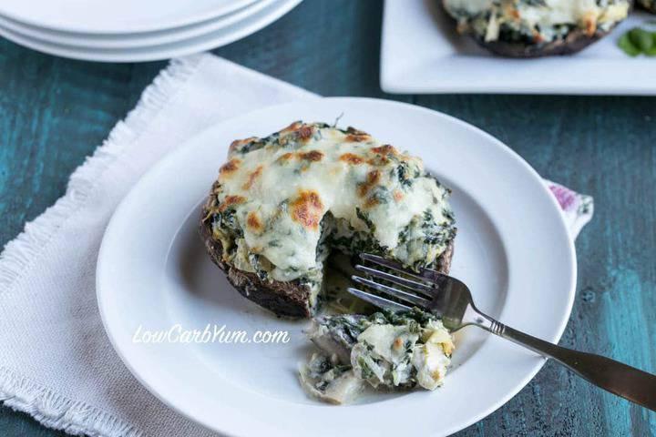 Low Calorie Portobello Mushroom Recipes  Spinach Artichoke Stuffed Portobello