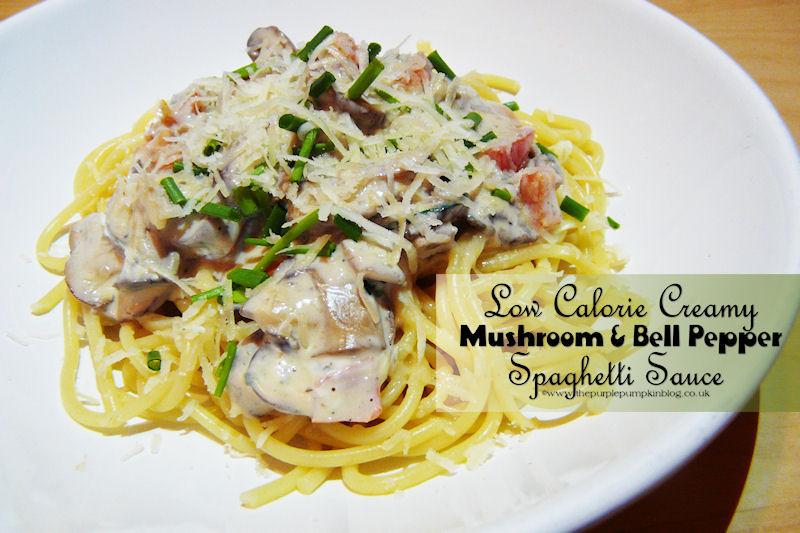 Low Calorie Spaghetti Sauce  Low Calorie Creamy Mushroom & Bell Pepper Spaghetti Sauce