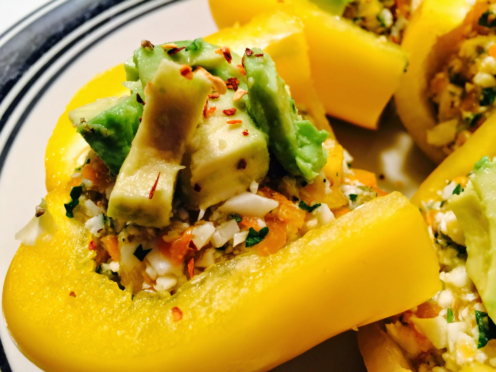 Low Calorie Stuffed Bell Peppers  Pretty Zesty RAW Stuffed Peppers Low Fat