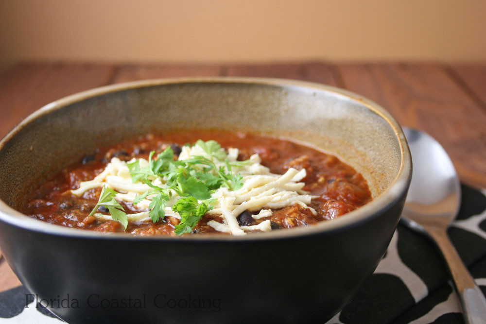 Low Calorie Vegetarian Chili  Cheesy Vegan Tempeh Slow Cooker Chili No Pre Cooking