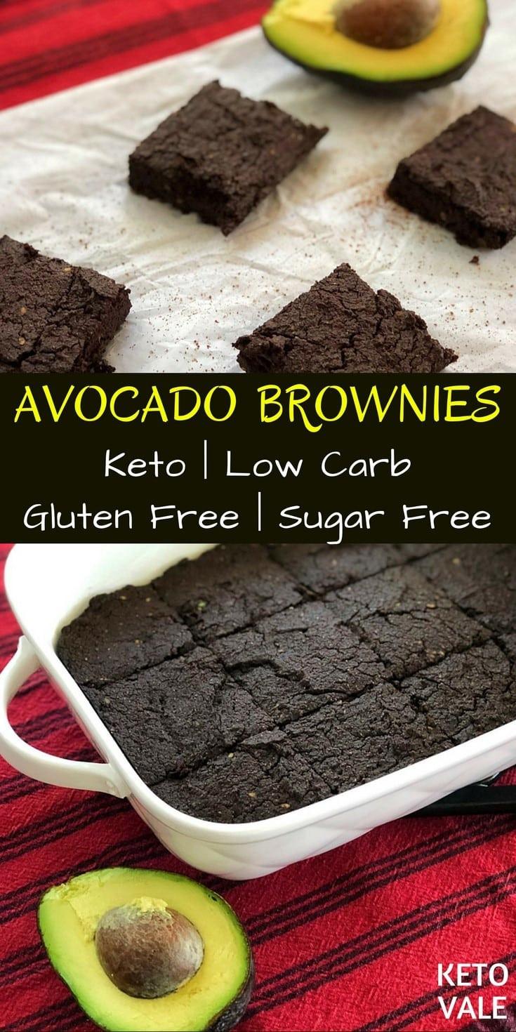 Low Carb Avocado Brownies  Keto Avocado Brownies Gluten & Sugar Free Low Carb Recipe