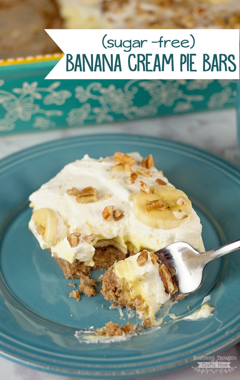 Low Carb Banana Cream Pie  Banana Cream Pie Bars with a Pecan Crust Scattered
