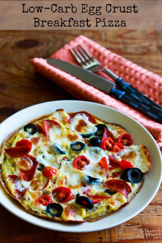 Low Carb Breakfast Pizza  Kalyn s Kitchen Low Carb Egg Crust Breakfast Pizza with