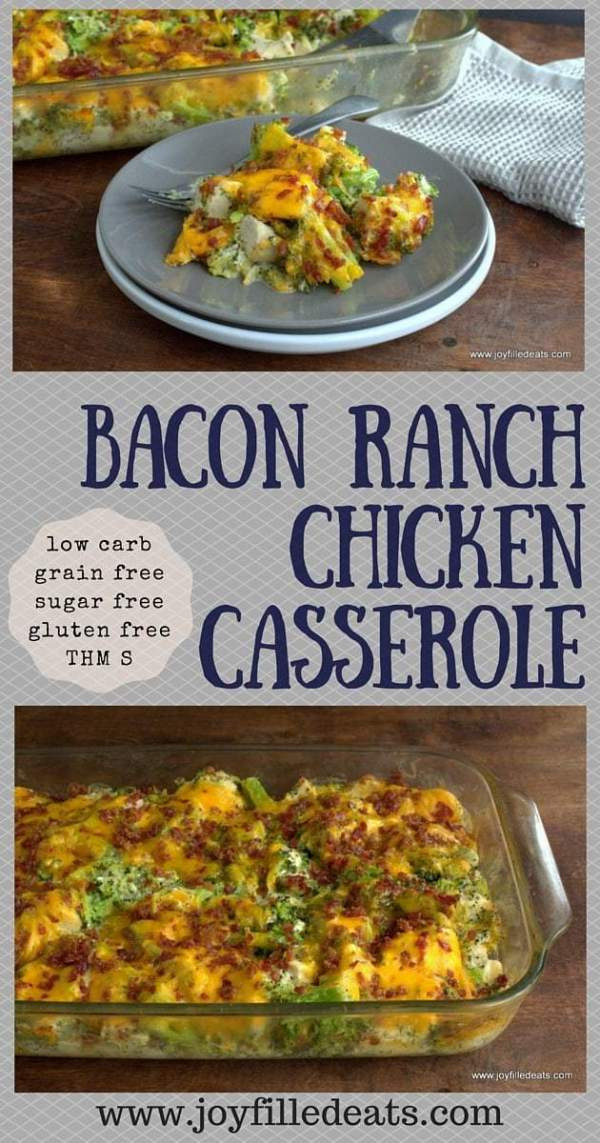 Low Carb Chicken Bacon Ranch Casserole  Bacon Ranch Chicken Casserole Joy Filled Eats