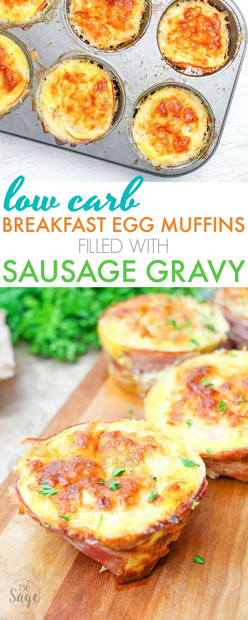 Low Carb Egg Muffin Recipes  Low Carb Breakfast Egg Muffins Filled with Sausage Gravy