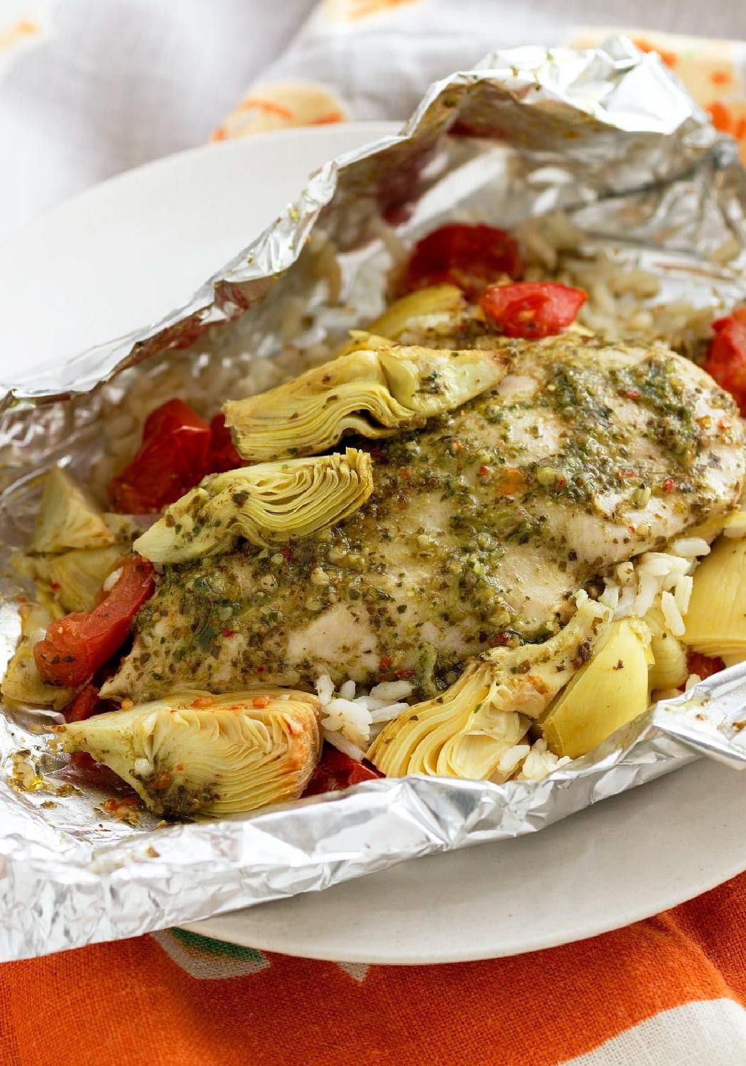 Low Carb Foil Packet Dinners  Foil Pack Chicken & Artichoke Dinner This low cal