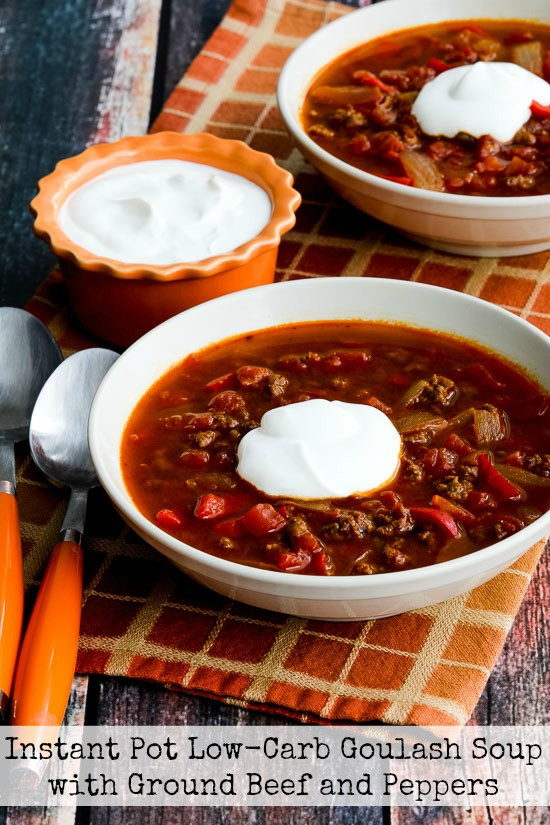 Low Carb Ground Beef Soup  Instant Pot Low Carb Goulash Soup with Ground Beef and