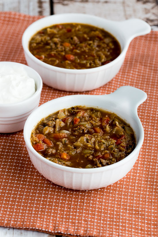 Low Carb Ground Beef Soup  Kalyn s Kitchen Ground Beef and Sauerkraut Low Carb Soup