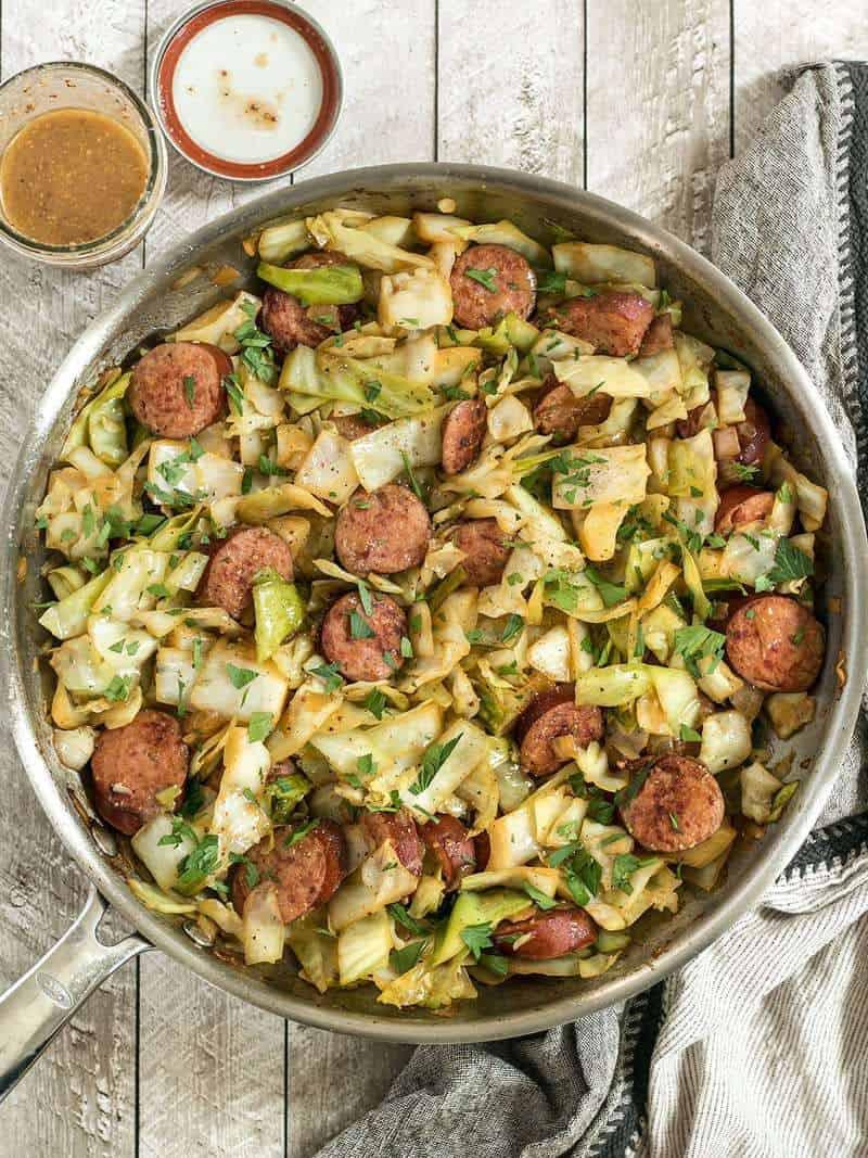 Low Carb Kielbasa Recipes  Kielbasa and Cabbage Skillet Bud Bytes