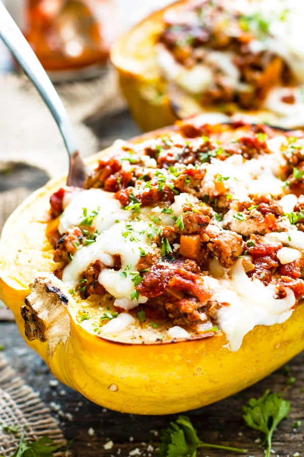 Low Carb Meals With Ground Turkey  Lasagna Spaghetti Squash Boats with Ground Turkey