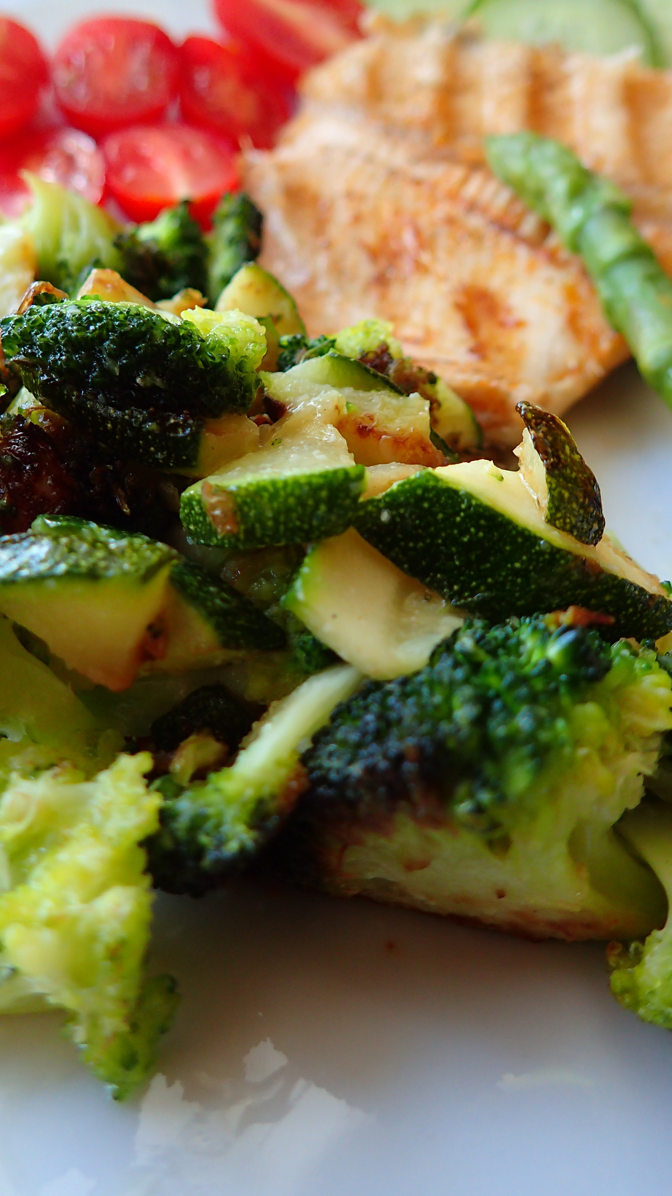 Low Carb Roasted Vegetables  KETO DINNER FOR 2 Crispy skin grilled trout & roasted