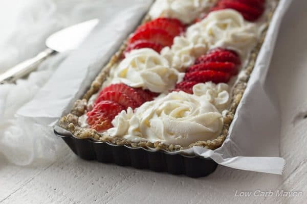 Low Carb Strawberry Dessert  No Bake Sugar Free Strawberry Cheesecake Tart low carb