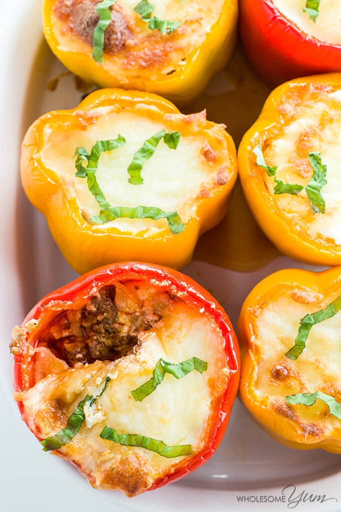 Low Carb Stuffed Bell Peppers  Keto Low Carb Lasagna Stuffed Peppers Recipe VIDEO