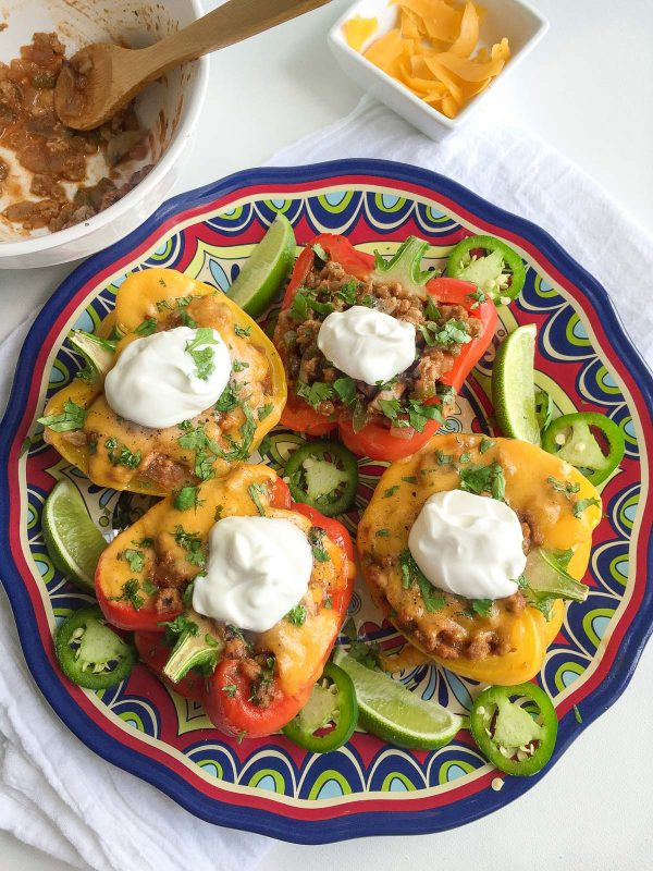 Low Carb Stuffed Peppers With Ground Turkey  Easy Mexican Stuffed Peppers with Ground Turkey