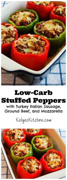 Low Carb Stuffed Peppers With Ground Turkey  Kalyn s Kitchen Low Carb Stuffed Peppers with Turkey