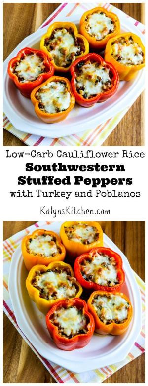 Low Carb Stuffed Peppers With Ground Turkey  Peppers are great in the fall and these Low Carb Stuffed