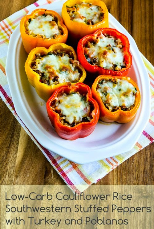 Low Carb Stuffed Peppers With Ground Turkey  Kalyn s Kitchen Low Carb Cauliflower Rice Southwestern