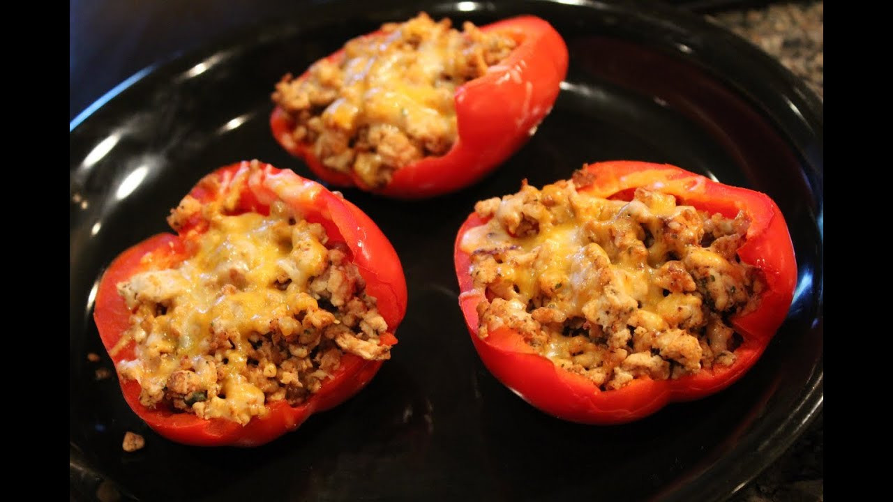 Low Carb Stuffed Peppers With Ground Turkey  Bodybuilding Cutting Meal Low Carb Ground Turkey Stuffed