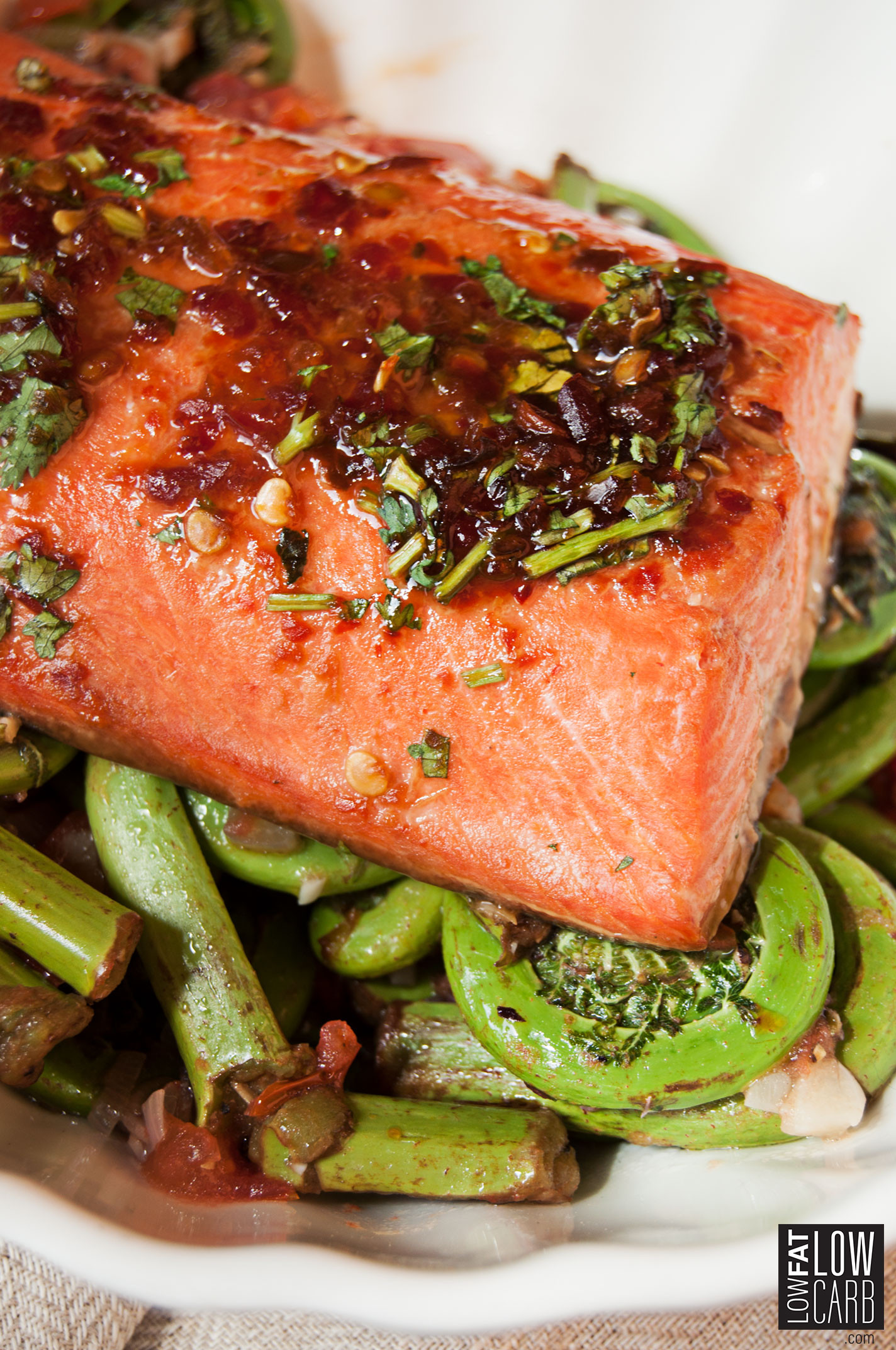 Low Cholesterol Salmon Recipes  Delicious Grilled Salmon & Fiddleheads Low Fat Low Carb