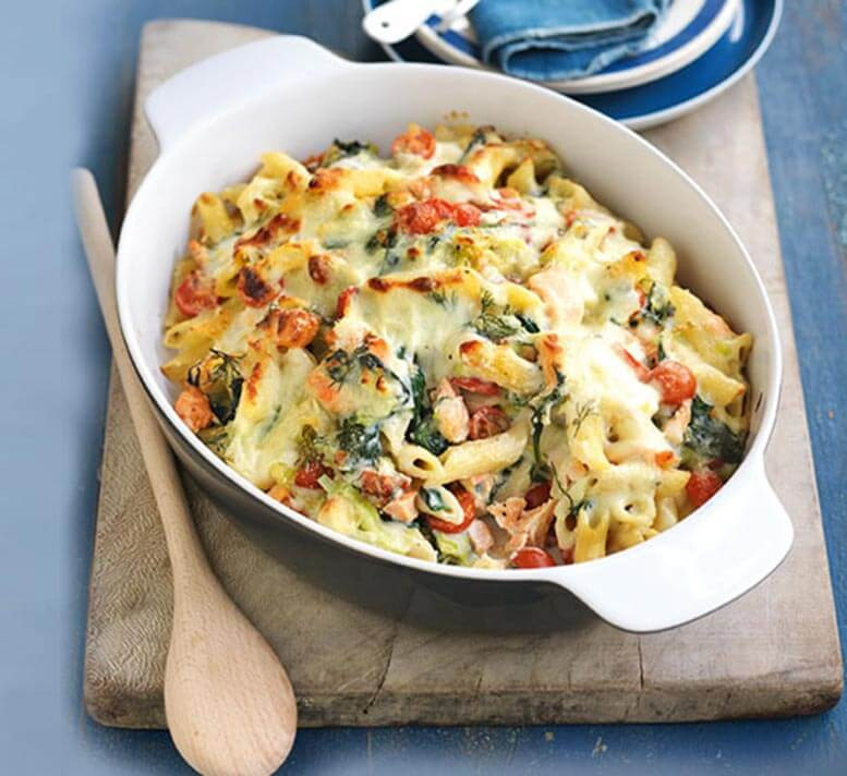 Low Cholesterol Salmon Recipes  Smoked salmon leek and spinach pasta bake Healthy Food
