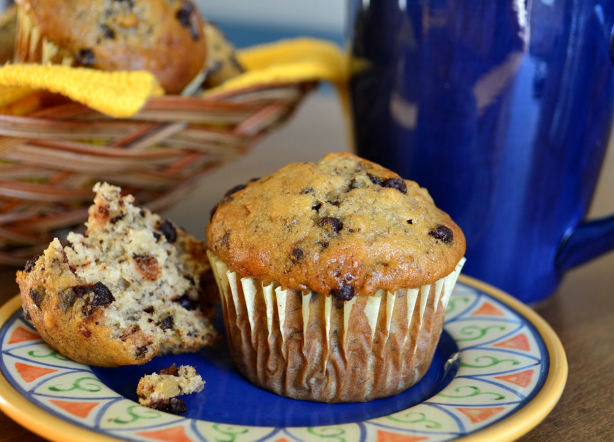 Low Fat Banana Chocolate Chip Muffins  Banana Chocolate Chip Muffins Recipe Food