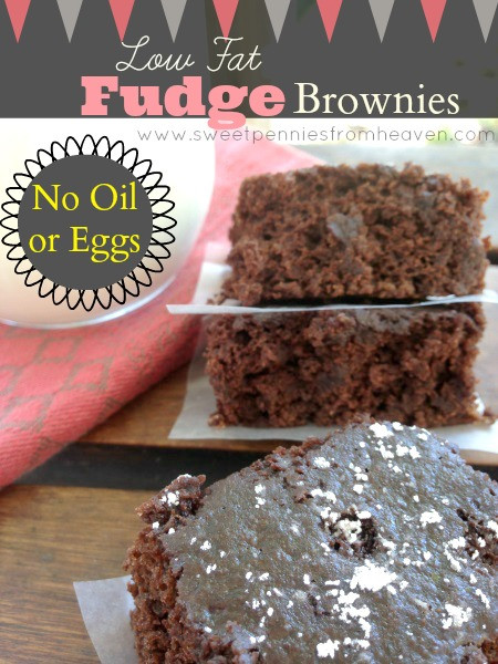 Low Fat Brownies  Low Fat Fudge Brownie Recipe with NO Oil or Eggs