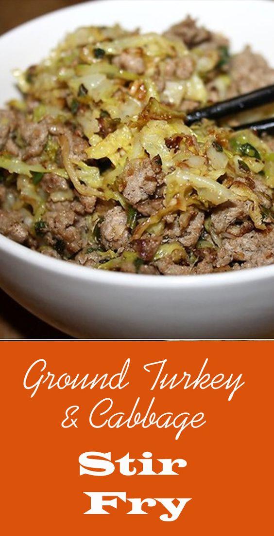 Low Fat Cabbage Recipes  Ground Turkey & Cabbage Stir Fry Recipe