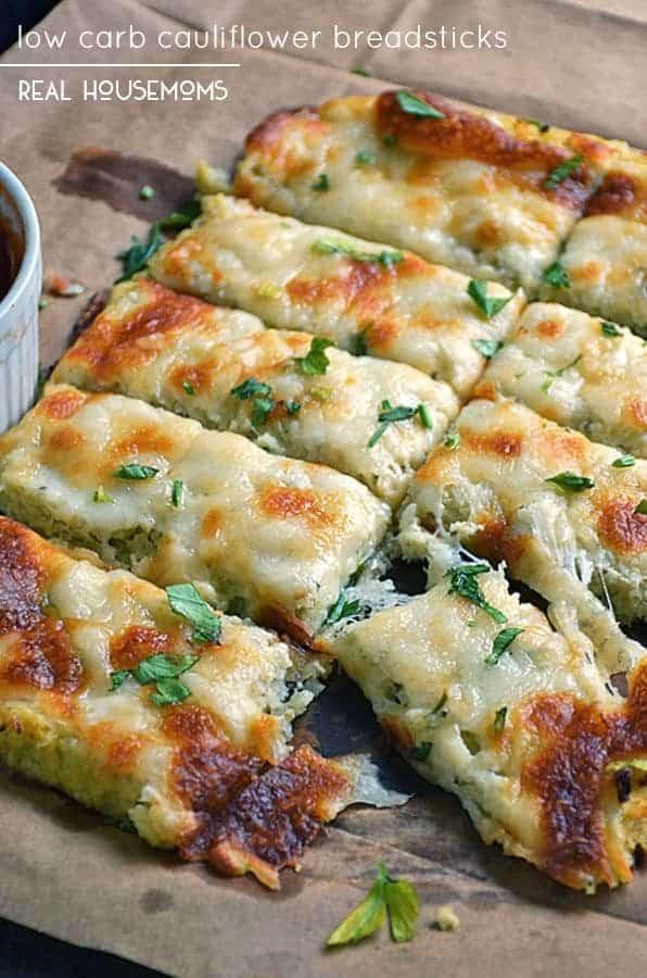 Low Fat Cauliflower Recipes  Low Carb Cauliflower Breadsticks Low Carb Recipes VIDEO