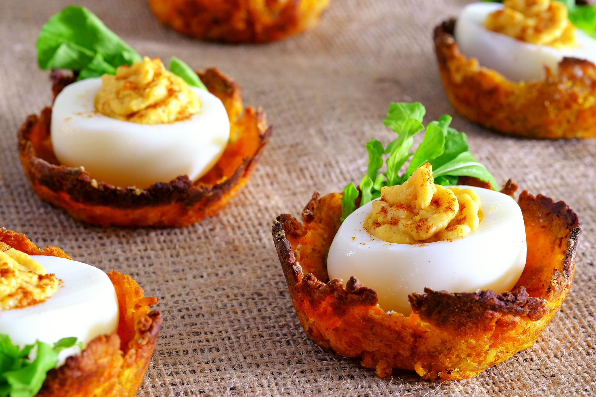 Low Fat Deviled Eggs  Low Fat Deviled Eggs on Sweet Potato Nests MyNutriCounter
