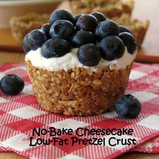 Low Fat Pretzels  No Bake Cheesecake n Berries in a Low Fat Pretzel Cup