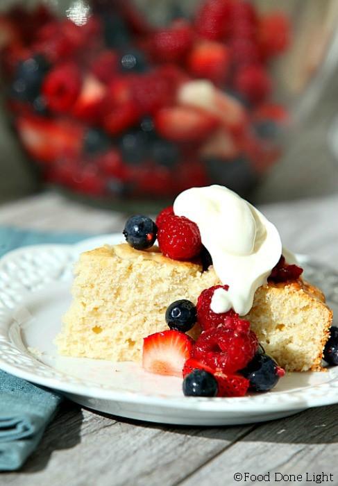 Low Fat Strawberry Shortcake  Lightened Mixed Berry Shortcake with Whipped Yogurt Cream