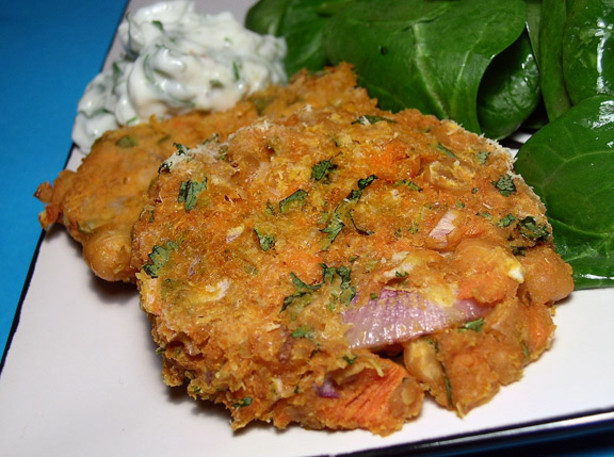 Low Fat Vegetarian Dinner Recipes  Low Fat Sweet Potato And Chickpea Cakes Ve arian Too