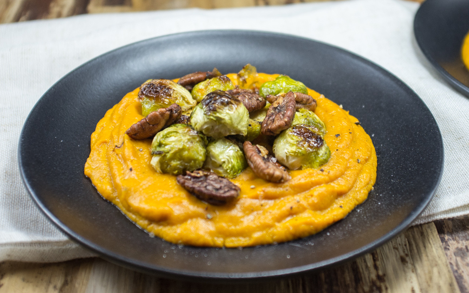Mashed Sweet Potatoes Vegan  Sweet Potato Mash With Maple Pecans and Brussels Sprouts